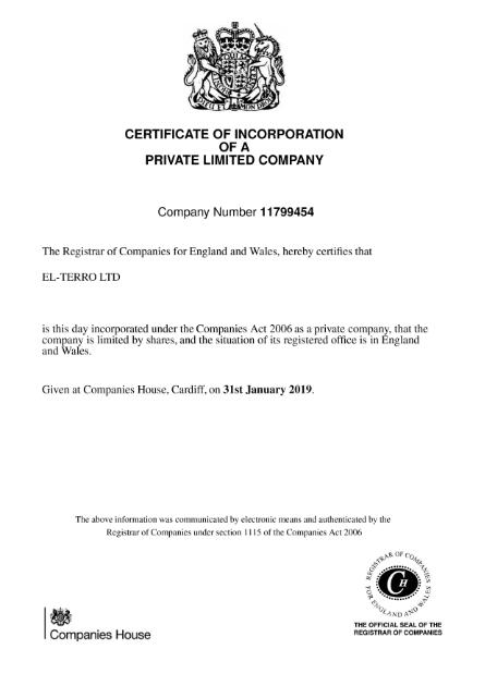 Сертификат о регистрации El terro